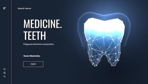 Dentystyczna strona docelowa w wielokątnym stylu szkieletowym