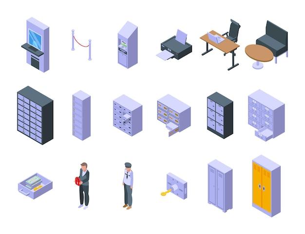 Depozyt ikony pokoju zestaw izometryczny wektor. skarbonka. bezpieczeństwo dostępu