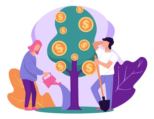 Depozyty i oszczędzanie pieniędzy, ludzie dbający o rosnące drzewo ze złotymi monetami dolarowymi