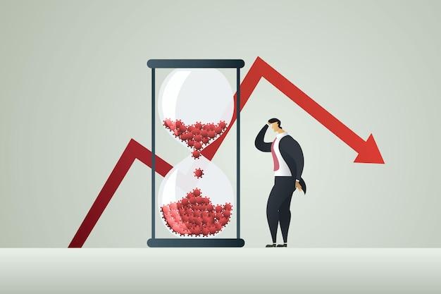 Depresja biznesmena i wykres straty zysku ze strzałką w dół