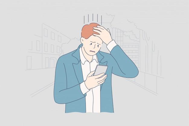 Depresja, zmęczenie, stres psychiczny, biznes, koncepcja frustracji.