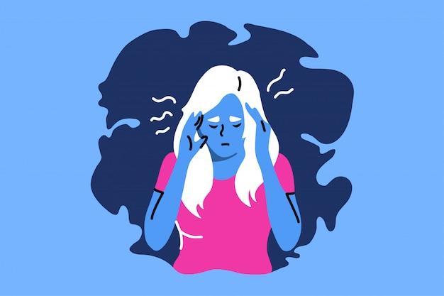 Depresja, zmęczenie, stres psychiczny, frustracja, ból, koncepcja.