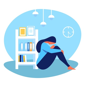 Depresji kobieta siedzi na podłodze w pokoju. wektor.