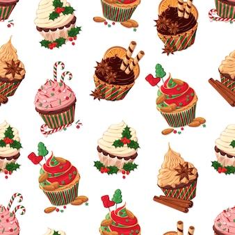Deseń wektorowych zestaw różnych rodzajów christmas cupcakes.