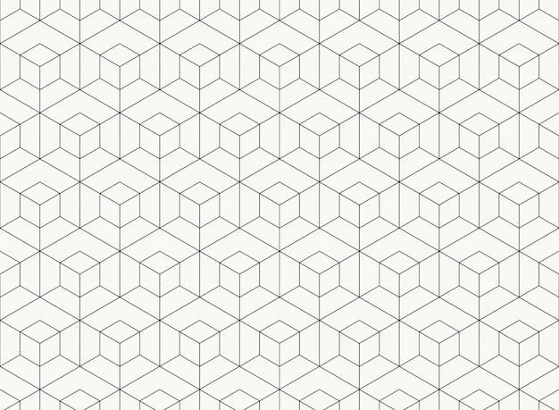 Deseniowego sześciokąta projekta geometryczna czarna linia techniki tło.