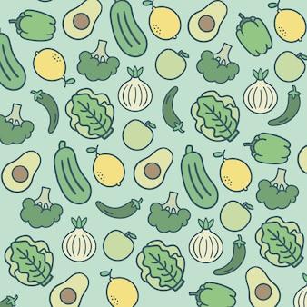 Deseniowy owoc i warzywo zieleni tło