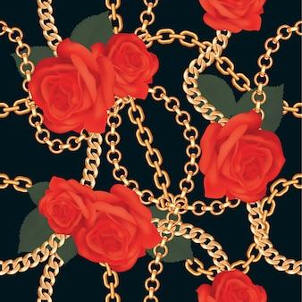 Deseniowy tło z złotymi łańcuchami