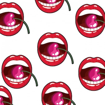Deseniowy żeński usta kapiący z wiśnią