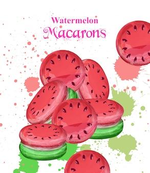 Deser arbuz akwarela macaroons