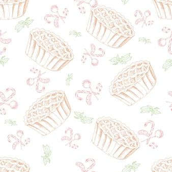 Deser wzór. słodki tło w stylu wyciągnąć rękę. tapeta z ciastem, cukierkiem. ilustracja wektorowa dla menu kawiarni, banera, przepisu itp.