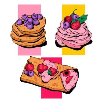 Desery clipart, jasne, przytulne, jagodowe. ilustracji wektorowych.