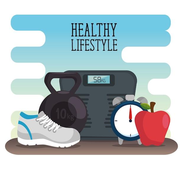 Desigh zdrowego stylu życia ze skalą i owoców