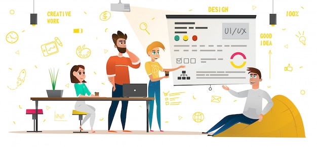 Design studio banner cartoon ludzie kreatywna praca