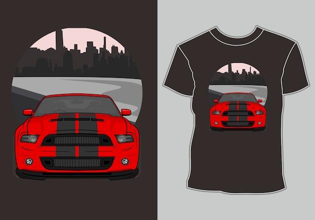 Design t shirt nowoczesny samochód sportowy na przedmieściach