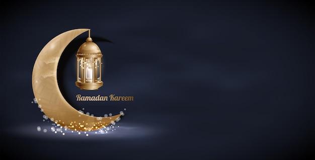 Designerska latarnia z arabskiego złota w stylu vintage, złoty półksiężyc. arabski tekst kaligraficzny ramadan kareem.