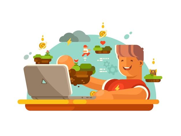 Designerskie modele gier i interfejsu do gier pracujących na laptopie. ilustracja wektorowa