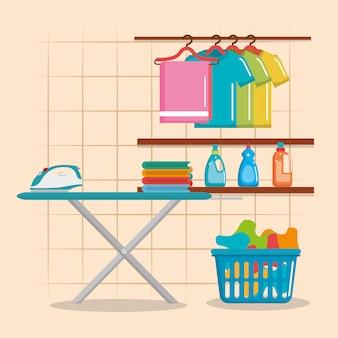 Deska do prasowania z ikonami usług pralniczych