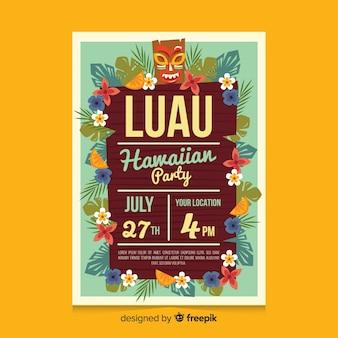 Deska luau party plakat szablon