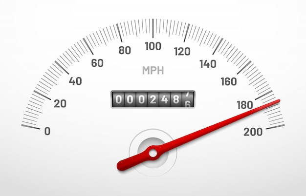 Deska rozdzielcza prędkościomierza samochodu. panel prędkościomierza z licznikiem przebiegu, licznikiem mil i tarczą pilności na białym tle