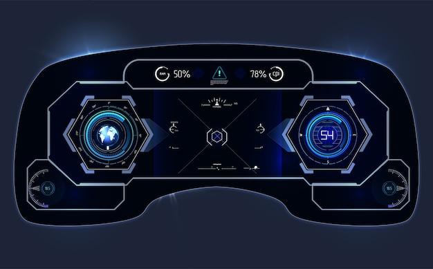 Deska rozdzielcza samochodu hud. streszczenie dotykowy interfejs użytkownika. futurystyczny interfejs użytkownika hud i elementy infografiki.
