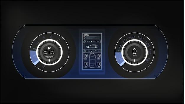 Deska rozdzielcza samochodu hud. streszczenie wirtualny graficzny interfejs użytkownika dotykowy. futurystyczny interfejs użytkownika hud i elementy infografiki.
