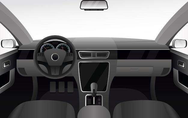 Deska rozdzielcza samochodu, ilustracja wnętrza salonu samochodowego. kreskówka kabina samochodowa z przednią szybą