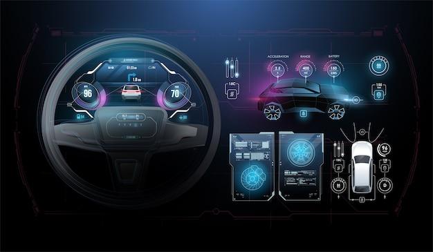 Deska rozdzielcza wskaźników prędkości i kilometrów. deska rozdzielcza samochodu. obrotomierz, wyświetlanie danych i nawigacja. wirtualny interfejs graficzny ui hud autoscann. wirtualna grafika.