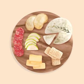 Deska serów akwarela