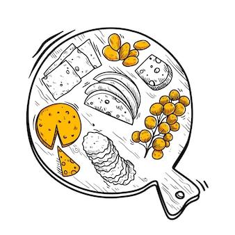 Deska serów ręcznie rysowane ilustracji