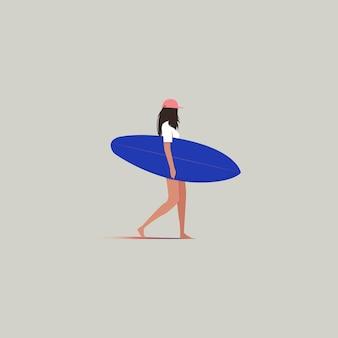 Deska surfingowa. surfować dziewczyna spaceru - wektor
