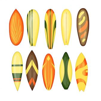 Deska surfingowa - zestaw 1 - ilustracja wektorowa na białym tle