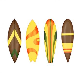 Deska surfingowa - zestaw ilustracji wektorowych izolowane