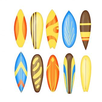 Deska surfingowa zestaw ilustracji wektorowych na białym tle