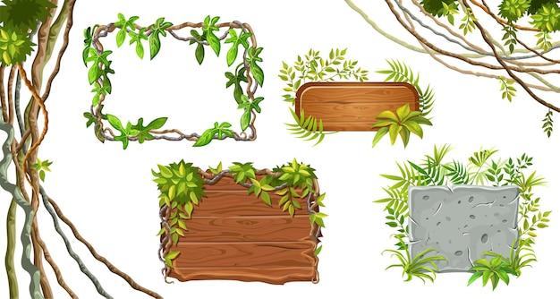 Deski drewniane i kamienne. liście liana.