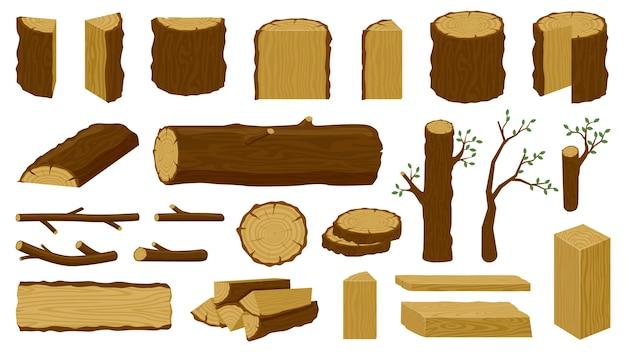 Deski stolarskie i gałązki do drewna