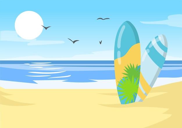 Deski surfingowe na plaży oceanu na hawajach. hawajski brzeg morza tropikalny charakter