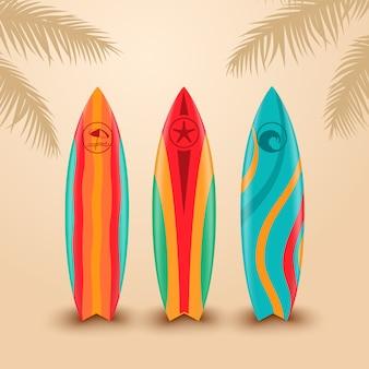 Deski surfingowe o różnych wzorach. ilustracja