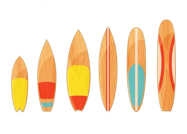Deski surfingowe typy zestaw na białym tle. deska dla jeźdzów falowych ilustracyjnych.