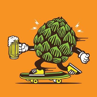 Deskorolka beer hop skateboard character design