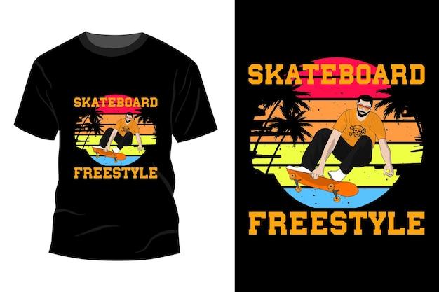 Deskorolka freestyle t-shirt makieta design vintage retro