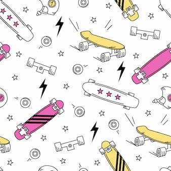 Deskorolki, błyskawice i gwiazdy na białym tle wzór. ilustracja wektorowa do modnych tkanin, grafiki tekstylnej, nadruków, tapet i innych zastosowań.