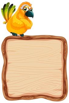 Deskowy szablon z ślicznym ptakiem na białym tle