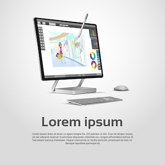 Desktop nowożytna komputerowa projektant grafik miejsce pracy wektoru ilustracja
