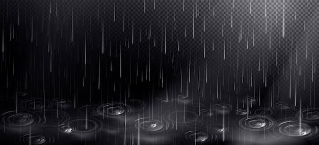 Deszcz i kałuża z kręgami od spadających kropli.