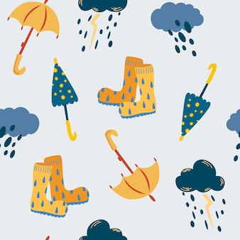 Deszcz i parasole wzór. jesienny czas. chmury z deszczem i burzami, parasolami i kaloszami. do tkanin, pocztówek, wydruków, plakatów, okładek, tapet. ilustracja wektorowa.