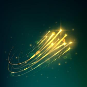 Deszcz meteorytów z żółtymi spadającymi gwiazdami płonącymi na nocnym niebie z jasnymi śladami poświaty.