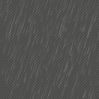 Deszcz na białym tle realistyczny efekt kątowy. przejrzyste opady deszczu natury