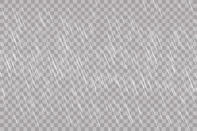 Deszcz przezroczysty szablon tło. spadająca woda opuszcza teksturę. natura opadów deszczu na tle kratkę.