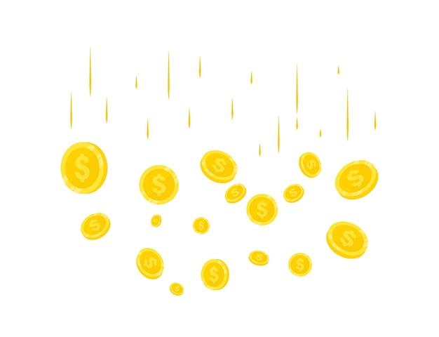 Deszcz realistycznych złotych monet. monety spadają pieniądze. jackpot lub koncepcja sukcesu dla twojego kasyna online. nowoczesne tło latających złotych monet. spadające pieniądze. eksplozja złotych monet na tle