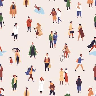 Deszcz spaceru ludzie płaski wzór. młode kobiety i mężczyźni w jesiennej odzieży dekoracyjne tło. stylowe chłopaki i dziewczęta w jesiennej odzieży wierzchniej. tapeta, projektowanie tekstyliów.